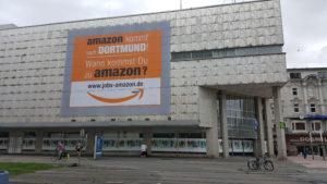 Amazon Werbung (Stellenanzeige) auf der Kampstraße in Dortmund