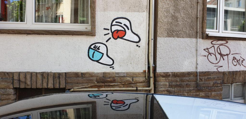 Hustender Wurm ohne Maske in Dortmund