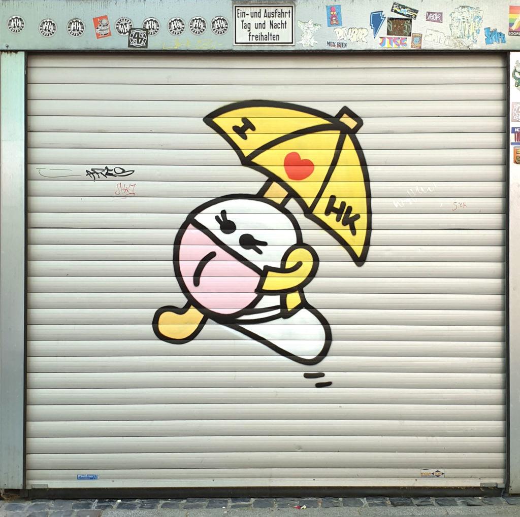 I love Hong Kong - Wurm mit Regenschirm und Maske